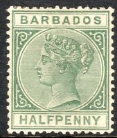 Barbados 1882 dull-green 1/2d perf 14 crown CA watermark mint SG89