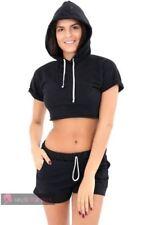 Abbigliamento sportivo da donna neri senza marca a lunghezza della manica manica corta