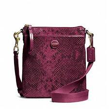 Coach F50116 Raspberry Signature Stripe Embssed Exotic Swingpack Bag crzyjp