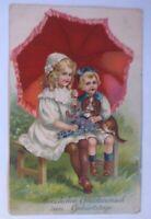 Geburtstag, Kinder, Mode, Schirm, Hund, Veilchen,   1912, Prägekarte ♥ (20707)