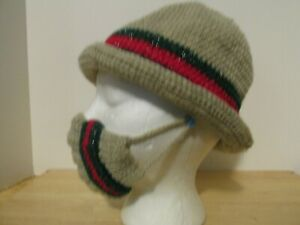 Woman Bucket Hat, Hand Crocheted earth tone brownish & black & red accents 1size