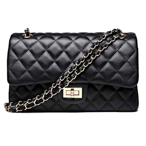 Bag Handbag Woman Shoulder Strap Quilted Black Clutch Chains Eco-Leather