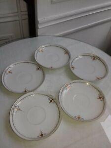 5 soucoupes en porcelaine de Paris époque Napoléon III