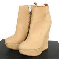 DSQUARED2 $625 ocher nubuck platform wedge heel shoe dsquared ankle boots 40 NEW