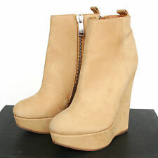 DSQUARED2 $625 ocher nubuck platform wedge heel shoe dsquared ankle boots 40 NEW