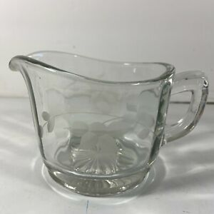 Clear Glass Creamer Etched Leaves Pattern Unknown Maker 8 oz