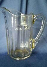 Flint Pittsburgh Glass Water Pitcher EAPG Panel Fluted Applied Handle Victorian
