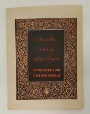 Apostolic Letter Pope Pius IX Book Leaflet Booklet Protestant 1951 Mid Century
