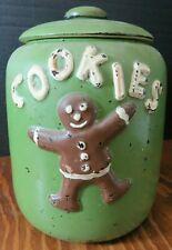 "Vintage McCoy Green Gingerbread Man & Woman Cookie Jar 9.25"" x 7"" x 6.75"""