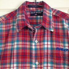Ralph Lauren Polo Sport Boy's Shirt Large Plaid Spell Out