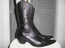 Womens COWBOY BOOTS *STEVEN* Black LEATHER Western ROCKABILLY* KICKS* Sz-6