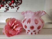 STUNNING! Vintage Fenton COIN DOT /Tear CRANBERRY OPALESCENT Art Glass Vase RARE