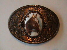HORSE SURROUNDED BY FLOWERS BELT BUCKLE
