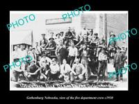 OLD LARGE HISTORIC PHOTO OF GOTHENBURG NEBRASKA, THE FIRE DEPARTMENT CREW c1930