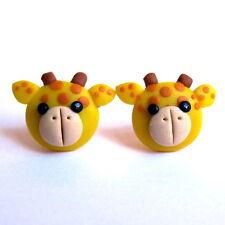 Emo Handmade Giraffe Animal Childrens Girls Small Gifts Yellow Earrings Jewelry