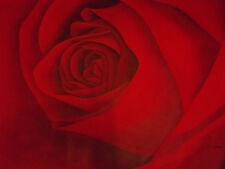 La ROSA ROSSA FIORE GRANDE dipinto ad olio su tela moderno contemporaneo floreale art