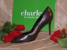 CHARLES DAVID CRACKLED PEWTER  DRESS PUMP SZ 11  *CLASSIC SEXY DRESS PUMP*