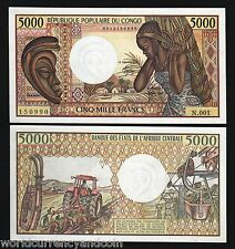 CONGO REPUBLIC 5000 5,000 FRANCS P6 A 1984 BOAT WATERFALL UNC NOTE AFRICA MONEY
