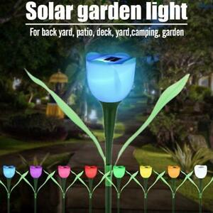 Solar Powered Tulip Flower Shape Garden Yard Light Lawn Standing Landscape Light