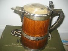 Antique English Silver Plate And Wood Banded Beer Tankard