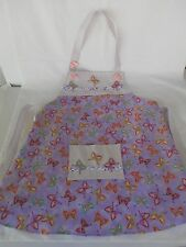 Handmade girls childs apron. 7-8 years. Butterfly print. Play kitchen accessory
