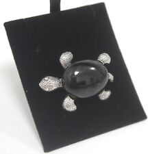 Brooch 925 Turtle with Black Onyx Animal Silver Jewellery 17g Ladies Gift