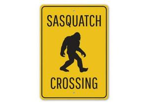 Sasquatch Crossing, Bigfoot Campsite Warning Sign, Camping Outdoor Metal Sign