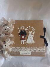 PERSONALIZED Wedding Album Scottish Kilt Navy Tartan, Sporran, Bride & Groom