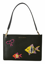 DOLCE & GABBANA Bag Leather Black Fish Patch Women Hand Shoulder Purse RRP $1100