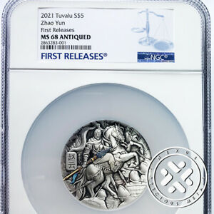 2021 NGC MS 68 ANTIQUED 5 OZ SILVER COIN ZHAO YUN FIRST RELEASES PERTH MINT