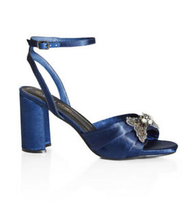 CITY CHIC- NEW Sophia Embellished Blue Heels/Size 40/Size 9/Wide Fit/RRP $89.95
