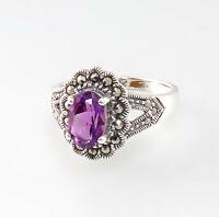 9927649 925er Silber Ring Amethyst Markasiten Gr. 56