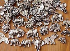 20 Assortiment Eléphant Porte-bonheur Tibétain Argent Animal Pendentif (TSC67)