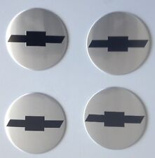 4 Chevroulet Aufkleber 58mm Silber Embleme Logo  Nabendeckel 22-C