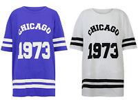 NEW LADIES WOMENS CHICAGO 1973 PRINT T-SHIRT VERSIZE VARSITY BASEBALL BAGGY TOP
