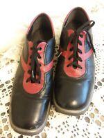 Stuart Weitzman Leather Oxford Walking Gym Casual Red/Black Shoes Sz 10 VINTAGE