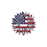 USA Sunflower Sticker  Sun Flower American Flag Car Vehicle Window Bumper Decal