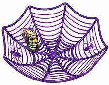 Plastic Spider Web Cobweb Bowl Halloween Table Party Decoration ~ Purple