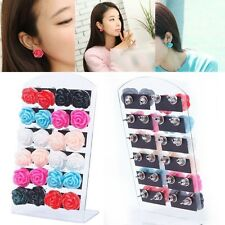12 Pair Jewelry Women Rose Flower Ear Stud Earrings With Display Stand
