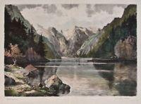 Hugo Eichler - Königssee - colorierte Radierung - o. J.