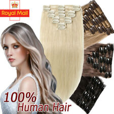 """UK Stock Clip in 100% Remy Real Human Hair Extensions Platinum Blonde 18-22"""" Z21"""
