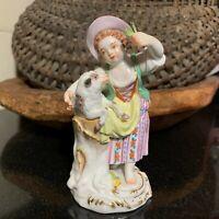 "Meissen Porcelain 4 3/4"" Figurine Girl Feeding Lamb Crossed Swords Germany MINT"
