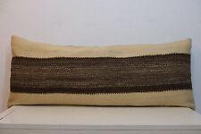 16'' x 40'' Long Boho Simple Plain Kilim Wool Bedding Pillow Cover Bed Pillow