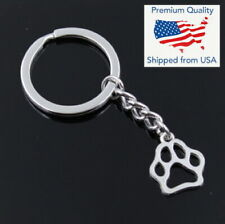 Vintage Animal Dog Bear Paw 19x17mm Silver Pendant Keychain Gift Key Chain