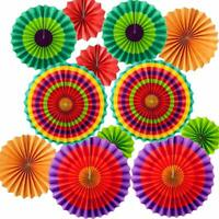 12pc Fiesta Paper Fans Mexican 5 de Mayo Coco Birthday Party Decorations
