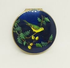 Vintage Stratton Rondette Powder Compact Green & Yellow Wagtail Blue Enamel