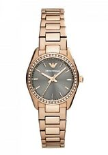 NEW EMPORIO ARMANI ROSE GOLD STAINLESS STEEL GREY DIAL LADIES WATCH AR6030