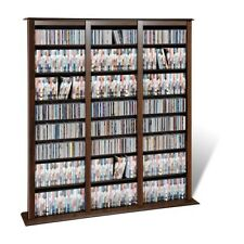 Dvd Storage Cabinet Blu-Ray Cd Media Organizer Large Wood Tower Rack 27 Shelves