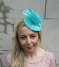 Turquoise Mint Green Silver Feather Pillbox Hat Fascinator Hair Clip Races 5547
