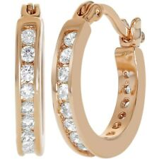 """Rose Gold Plated Clear Cubic Zirconia Hoop Earrings for Women 0.59"""""""
